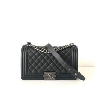 Authentic Chanel Boy Old Medium Black Calf Rhw Flap Bag