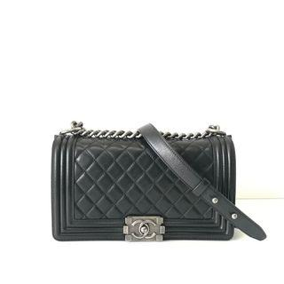 Authentic Chanel Boy Medium 25cm Black Lamb Rhw Flap Bag