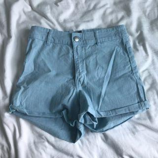 🚚 H&M High Waisted Light Blue Shorts