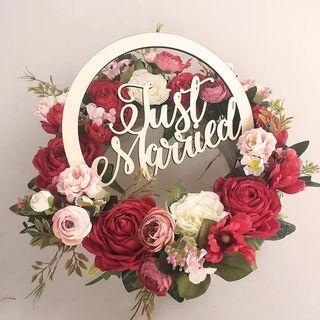 Bridal car / wedding decor floral wreath