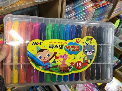 韓國Amos無毒蠟筆18色幼身
