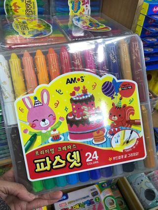 韓國Amos無毒蠟筆24色粗身