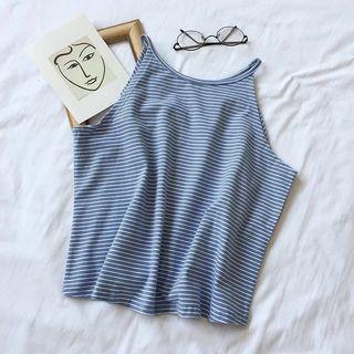 🚚 Blue Striped Halter Top