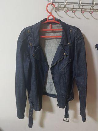 Dark Blue Biker Denim Jacket
