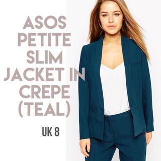 **REDUCED** ASOS PETITE Slim Jacket In Crepe (Teal)