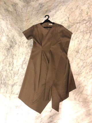 modern drape dress choco