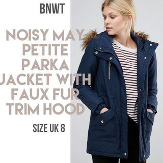 **REDUCED** Noisy May Petite Parka Jacket with Faux Fur Trim Hood