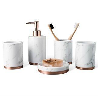 3 Pc Marble Print Ceramic Bathroom Set