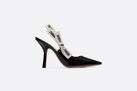 J'ADIOR SLINGBACK IN BLACK PATENT CALFSKIN LEATHER