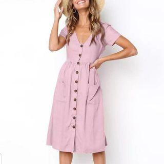 [PO] EurAmerica Minimalist Button Dress (103)