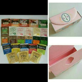 25 Individual Packs Various Unique Tea Bags From Oversea + Pink Box