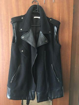 Leather/Wool contrast Vest