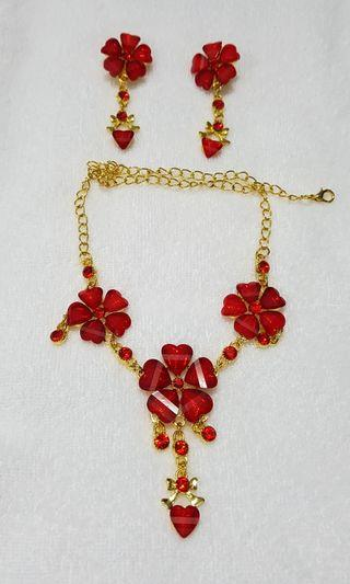 Red costume necklace and earrings