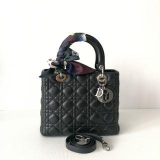 Authentic Lady Dior Medium Black Lamb Silver Hardware Bag
