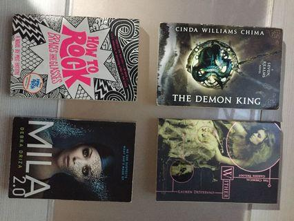 Lot of 4 Books: Wither, The Demon King, Mila 2.0 & School of Rock