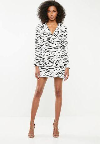 Misguided Zebra Print Blazer Dress