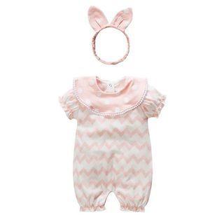 ✔️STOCK - PREMIUM COTTON PASTEL BABY PINK POLKA COLLAR CHEVRON WAVE WHITE ONESIE ROMPER & HEADBAND RIBBON SET NEWBORN TODDLER BABY GIRLS ONE MONTH OUTFIT KIDS CHILDREN CLOTHING