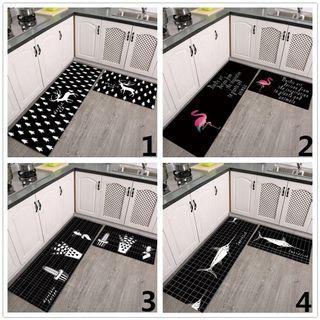 2pcs/set black Nordic flamingo grid kitchen mat carpet rug