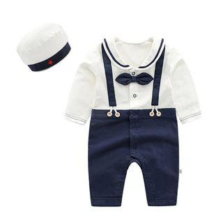 ✔️STOCK - PREMIUM COTTON NAVY BOW RIBBON SAILOR NAUTICAL THEME OVERALL SUSPENDER JUMPSUIT & MATCHING HAT SET NEWBORN TODDLER BABY BOYS ONE MONTH OUTFIT KIDS CHILDREN CLOTHING