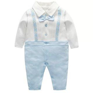 ✔️STOCK - PREMIUM COTTON PASTEL BLUE BOW RIBBON WITH EMBROIDERED SUSPENDER BELT ONE PIECE JUMPSUIT ONESIE ROMPER NEWBORN TODDLER BABY BOYS ONE MONTH OUTFIT KIDS CHILDREN CLOTHING