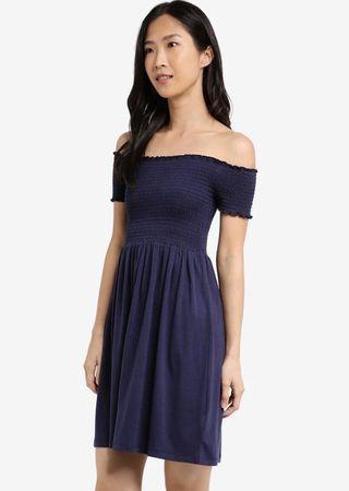 navy blue off shoulder dress