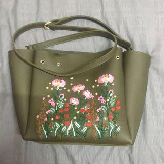 Floral Green Army Sling Bag