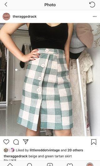 beige and green tartan skirt
