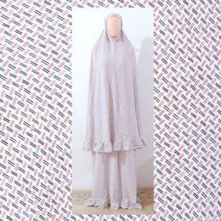 NEW! Mukena katun rayon broken white abstrak adem