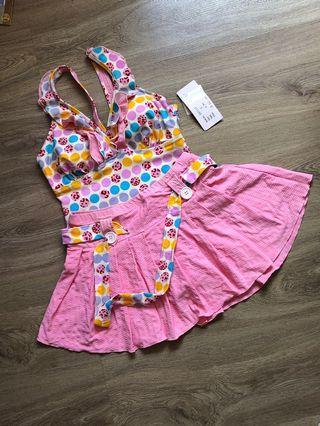 Swimsuit Flower Pink / Bikini with Skirt