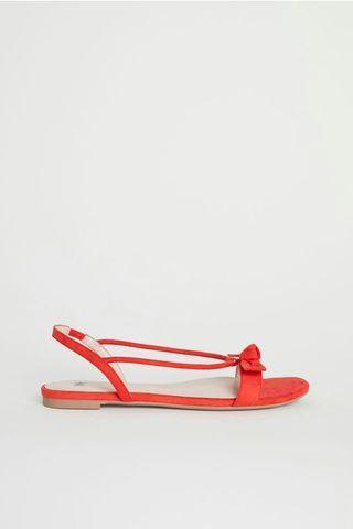 🌺H&M 紅色平底蝴蝶結涼鞋