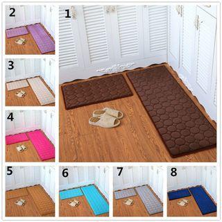 2pcs/set coral fleece solid Colour kitchen mat carpet rug