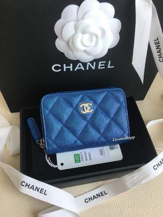 💙 Chanel 19s Iridescent Blue Zippy Coin Purse / Card Holder