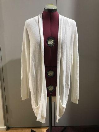 Size small white knit long fall cardigan