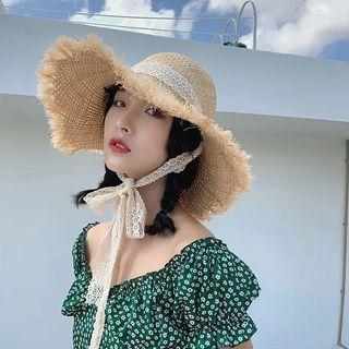 拉菲草蕾絲綁帶時尚大帽簷草帽百搭透氣遮陽帽