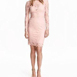 H&M Premium Range Long Sleeved Blush Pink Dress - lightly used