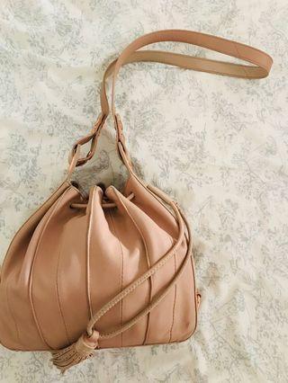 Mimco Pancake and Rose Gold Bucket Bag