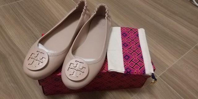 Tory Burch minnie travel flats shoes nude light pink