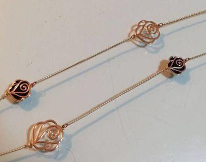 全新精美設計高級玫瑰花K金首飾項鏈,晶石配襯項鏈,各一條
