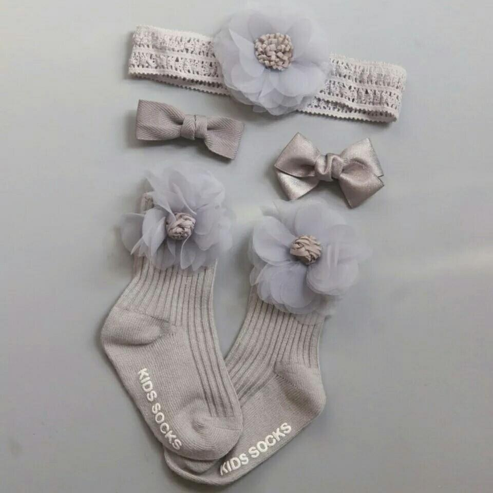 1set Newborn Baby Lovely Socks+Headbands Hairpin Sets Floral Patterns Toddler Baby Girl Cotton Elasticity Sock+Headbands Hairpin