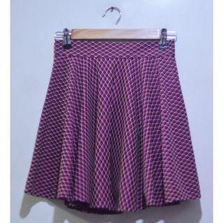 Grid Print Skater Skirt