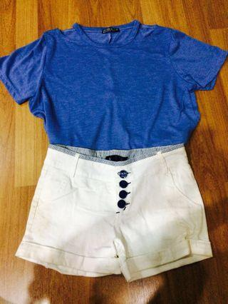 Cotton On Blue Top and White Pants