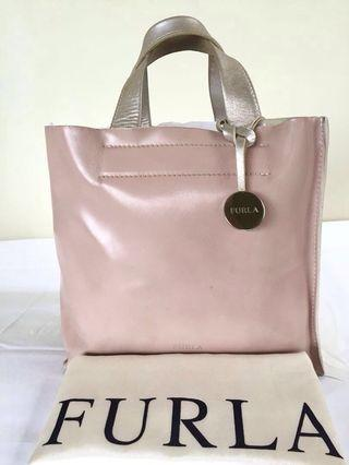 """AUTHENTIC FURLA """"DIVIDE IT"""" CREAM AND POWDER PINK LEATHER TOTE"""