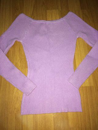 Iliac Purple Knitted Off Shoulder Top