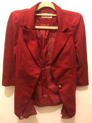 韓版 紅色短外套