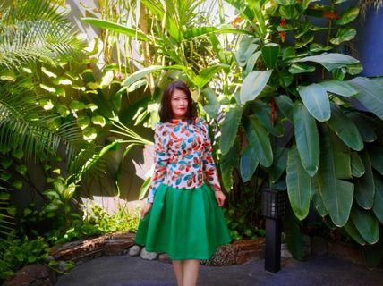 Set feather green dress