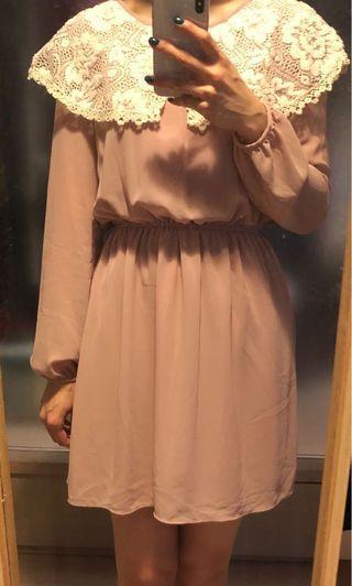 復古領粉色紗裙 Retro collar pink dress