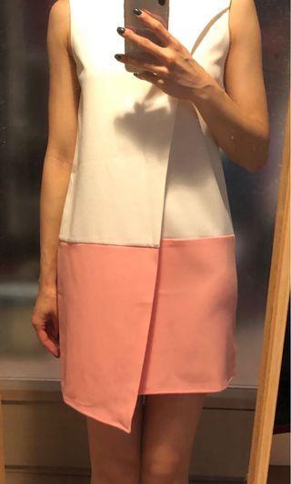 白色粉邊背心裙 Pink and white tank dress