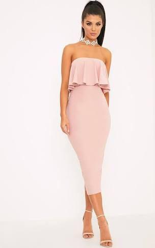Missguided Pink Bandeau Frill Bandeau Midi Dress
