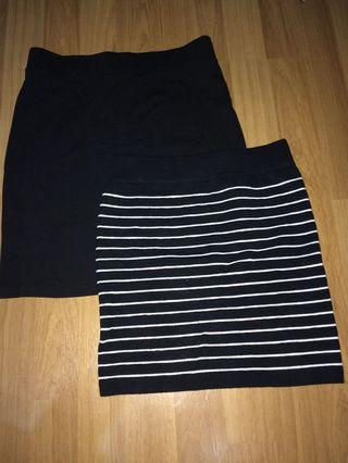 Black and Striped Bodycon Skirt