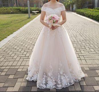 Wedding gown 香檳色Lace 一字膊婚紗